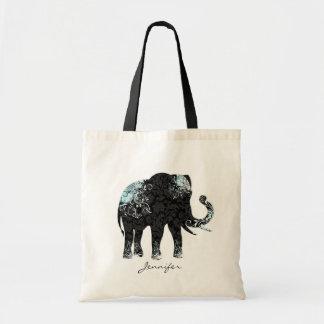Black & Blue Floral Elephant Tote Bag
