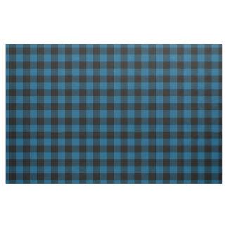 Black Blue Gingham Checks Tartan Squares Pattern Fabric