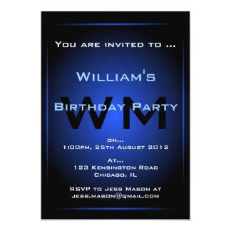 Black & Blue Glow Monogram Sci-fi - Invitation
