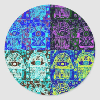 Black & Blue Hamsa Round Sticker