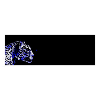 Black & Blue Jaguar Pop Art Poster