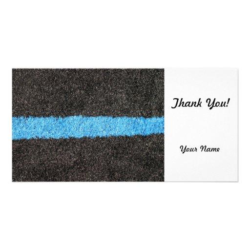 Black Blue Lawn Photo Card Template