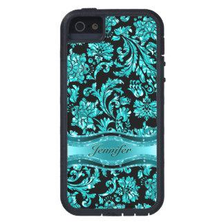 Black & Blue Metallic Floral Damasks-Customized iPhone 5 Cover