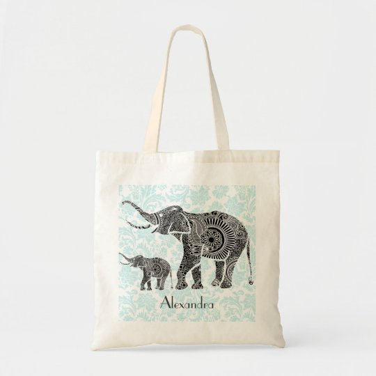 Black & Blue Ornate Swirls Elephant -Custom Tex Tote Bag