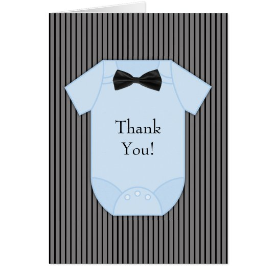 Black Blue Pinstripe Baby Boy Thank You Cards