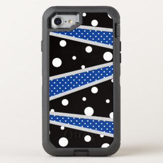 Black Blue Polka Dot Line OtterBox Defender iPhone 8/7 Case