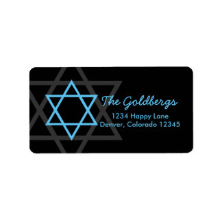 Black Blue Star of David Return Address