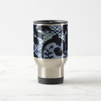 Black & blue vintage beautiful lace print travel mug