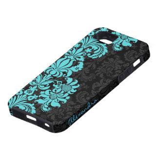 Black & Blue Vintage Floral Damasks iPhone 5 Covers