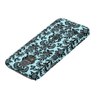 Black & Blue Vintage Floral Damasks Pattern Galaxy S5 Cases
