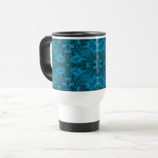 Black & Blue Vintage Kaleidoscope Travel Mug