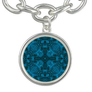Black & Blue Vintage Pattern  Charm Bracelet