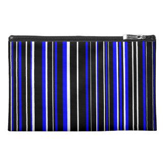 Black, Blue, White Barcode Stripe Travel Accessory Bag