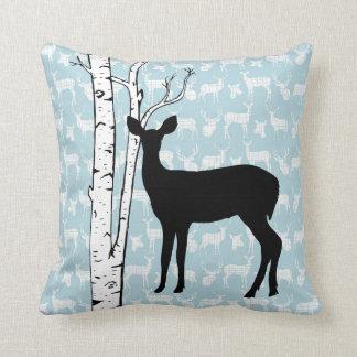 Black, Blue, White Deer Birch Forest Throw Pillow