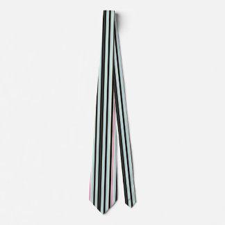 Black Blue White Pink Vertical Stripe Pattern Tie