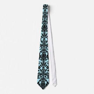 Black & BlueVintage Floral Damasks Pattern Tie