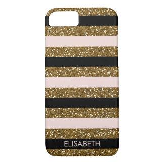 Black, Blush & Gold Glitter Stripes, Personalized iPhone 8/7 Case