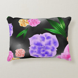 Black Blush Rose Decorative Pillow