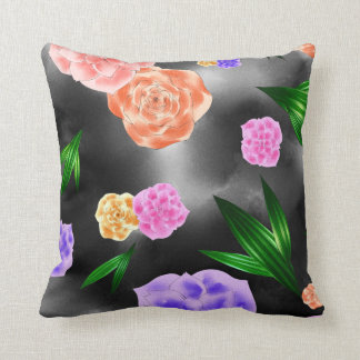 Black Blush Rose Throw Pillow