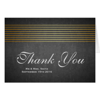 Black Board with Gold Striped Sleek Thank You Card