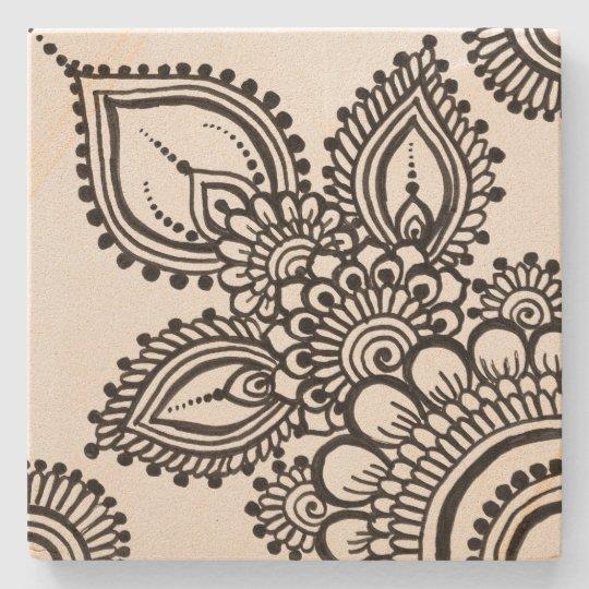 Black bohemian tile design coaster