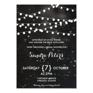Black Bokeh String of Lights Bridal Shower Invite