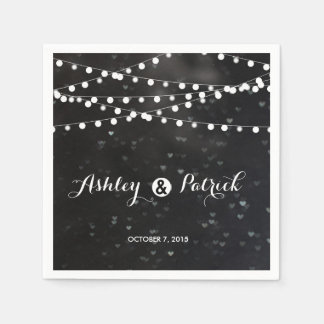 Black Bokeh String of Lights paper napkin