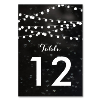 Black Bokeh String of Lights Table Number