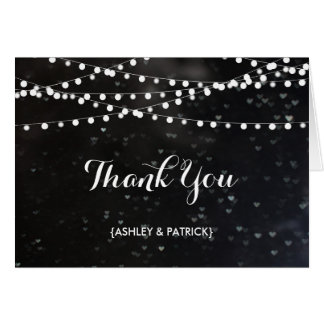 Black Bokeh String of Lights Thank You Card