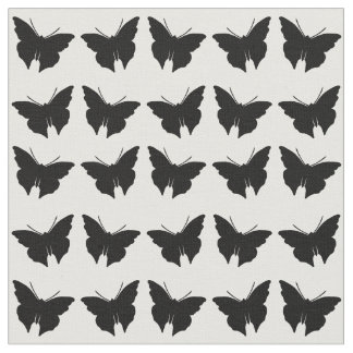 Black Bold Mod Butterflies Fabric