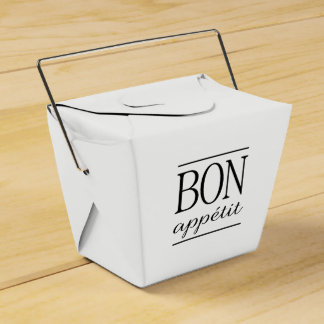 Black BON APPETIT Quote Dinner Typography Text Favor Box