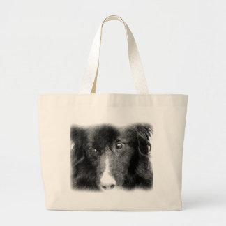 Black Border Collie Animal Art Tote Bag