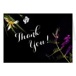 Black botanical thank you card