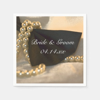 Black Bow Tie and White Pearls Wedding Disposable Napkins