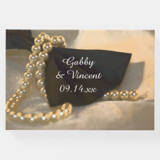 Black Bow Tie and White Pearls Wedding Guest Book