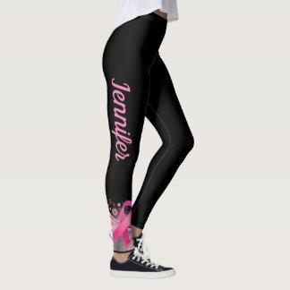 BLACK Breast Cancer Support Ribbon Leggings NAME