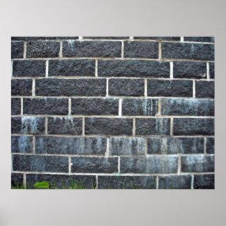 Black Brick Wall Texture Poster