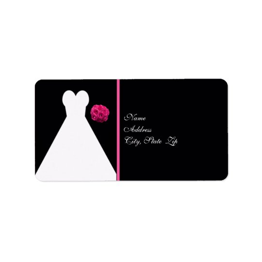 Black Bridal Shower Return Address Label