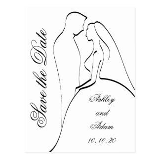 Black Bride and Groom Silhouette Save the Date Postcard