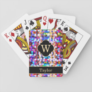 Black Bright Lights Monogram with Name Playing Cards