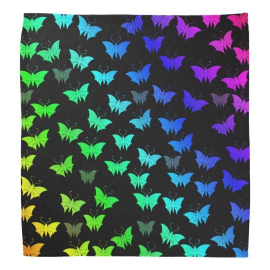black,bright, shiny, butterflies, exclusive bandana