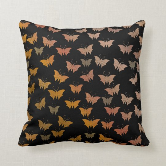 black bright, shiny, butterflies, exclusive throw pillow