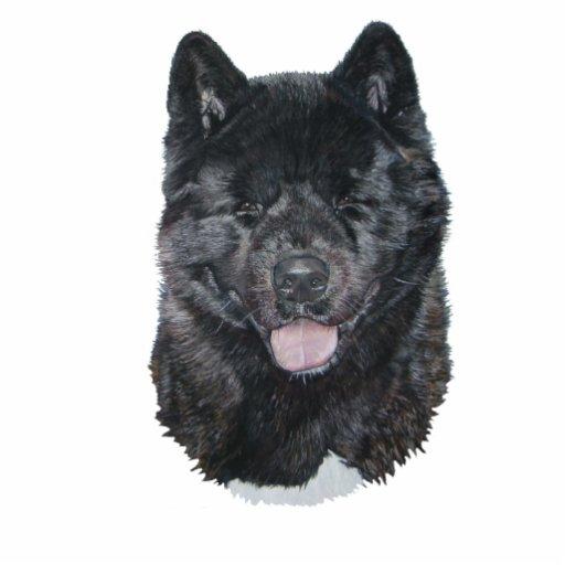 Black brindle akita dog portrait sculpture magnet cut out