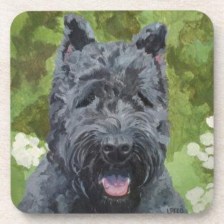 Black Brindle Bouvier Des Flanders Dog Art Coaster