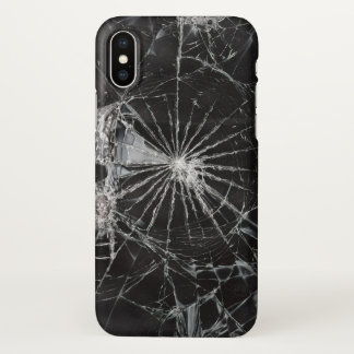 black broken glass print iPhone x case