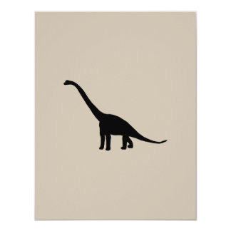 Black Brontosaurus Dinosaur Shadow Dino Card