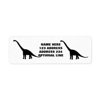 Black Brontosaurus Dinosaur Shadow Dino Return Address Label
