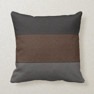 Black Brown and Grey Leather Look Throw Pillow