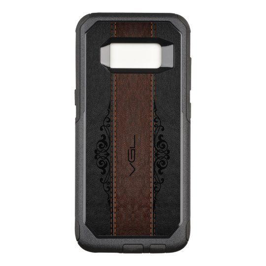 Black & Brown Leather Texture Monogram OtterBox Commuter Samsung Galaxy S8 Case