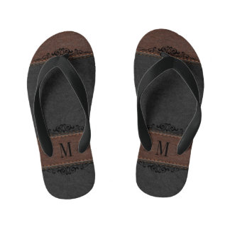 Black & Brown Leather Texture Monogrammed Kid's Flip Flops